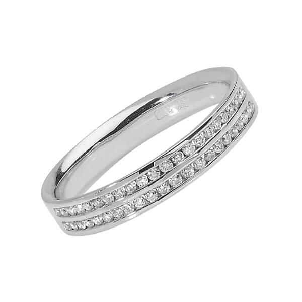 18ct White Gold Two Row Diamond Wedding Ring