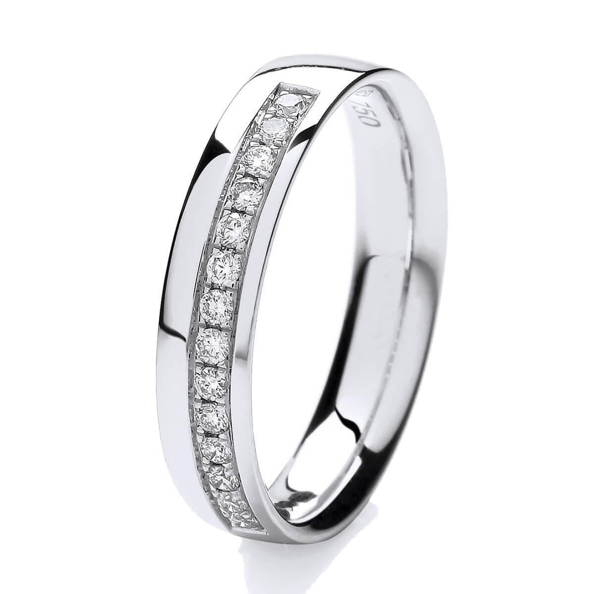 18ct White Gold Grain Set Diamond Wedding Ring