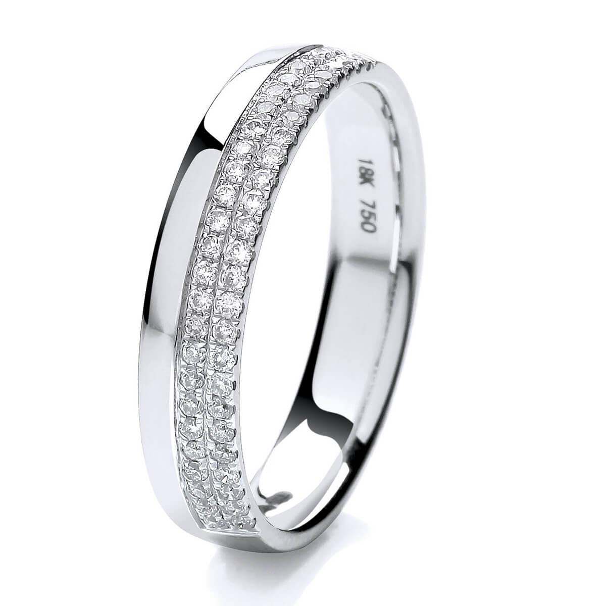 18ct White Gold Two Row Micro Set Diamond Wedding Ring