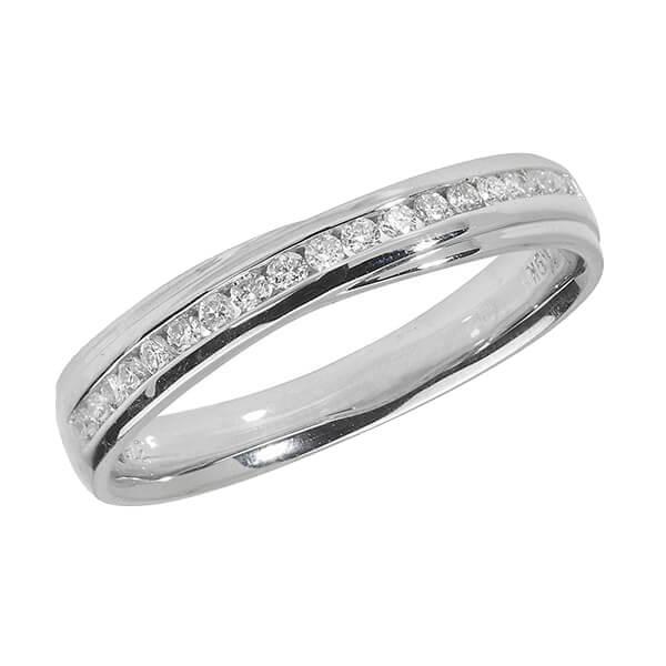18ct White Gold Crossover Diamond Wedding Ring
