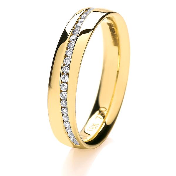 18ct Yellow Gold Crossover Diamond Wedding Ring