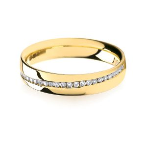 18ct Yellow Gold Crossover Diamond Wedding Ring