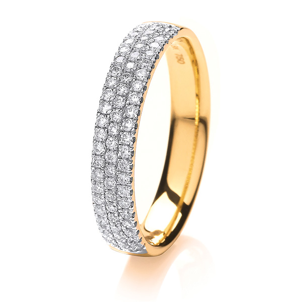 18ct Yellow Gold 3 Row Diamond Set Wedding Ring