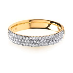 18ct Yellow Gold 3 Row Diamond Set Wedding Ring
