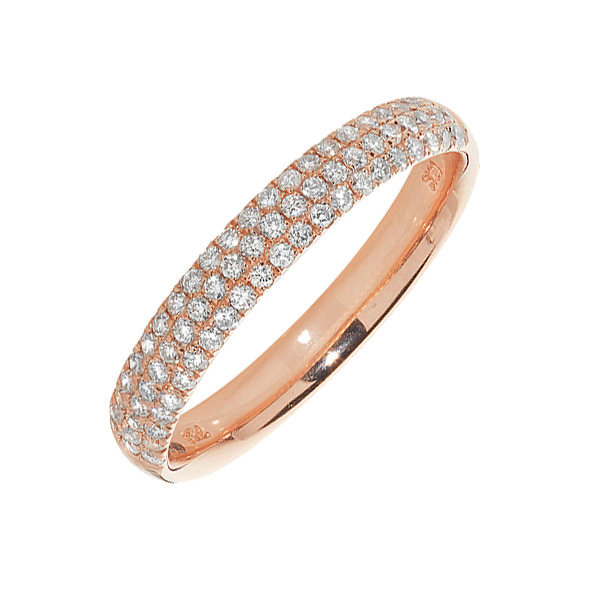 18ct Red Gold 3 Row Diamond Set Wedding Ring
