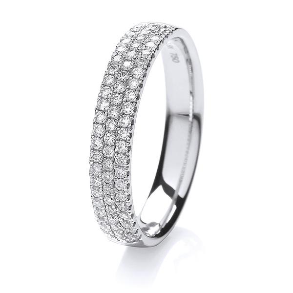 18ct White Gold 3 Row Diamond Set Wedding Ring