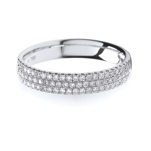 18ct White Gold 3 Row Diamond Set Wedding Ring