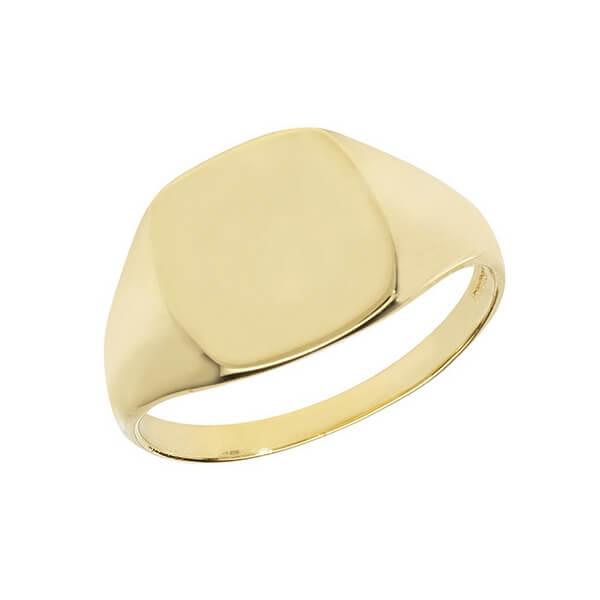 Cushion Head Plain Signet Ring made in 9ct Yellow Gold