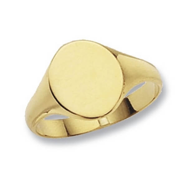 Oval Head Plain Signet Ring made in 9ct Yellow Gold