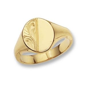 Oval Head Engraved Signet Ring made in 9ct Yellow Gold