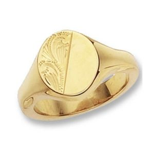 Oval Head Engraved Heavy Signet Ring made in 9ct Yellow Gold