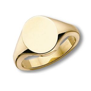 Oval Head Plain Heavy Signet Ring made in 9ct Yellow Gold