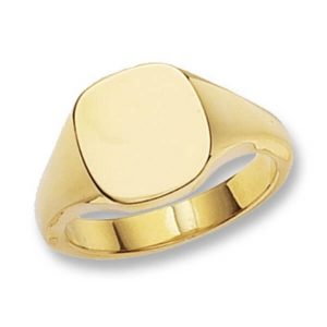 Cushion Head Plain Heavy Signet Ring made in 9ct Yellow Gold