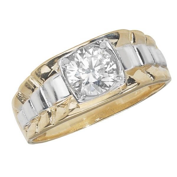 Mens CZ Set Ring in 9ct Yellow and White Gold