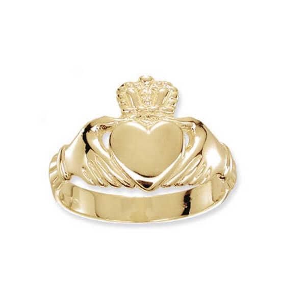Mens Claddagh Ring in 9ct Yellow Gold 1