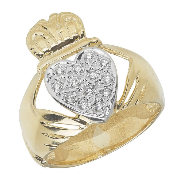 Mens Claddagh Ring with centre set Czs in 9ct Yellow Gold