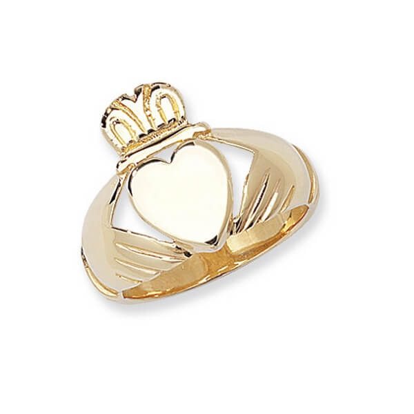 Mens Plain Claddagh Ring in 9ct Yellow Gold