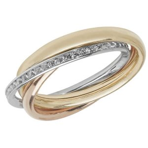 Ladies Tri Colour Russian Ring Set with Czs in 9ct Gold