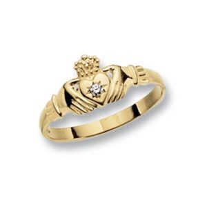 Ladies Claddagh Ring with centre set single CZ in 9ct Yellow Gold