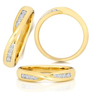 9ct Yellow Gold Diamond Crossover Wedding Ring