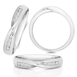 9ct White Gold Diamond Crossover Wedding Ring