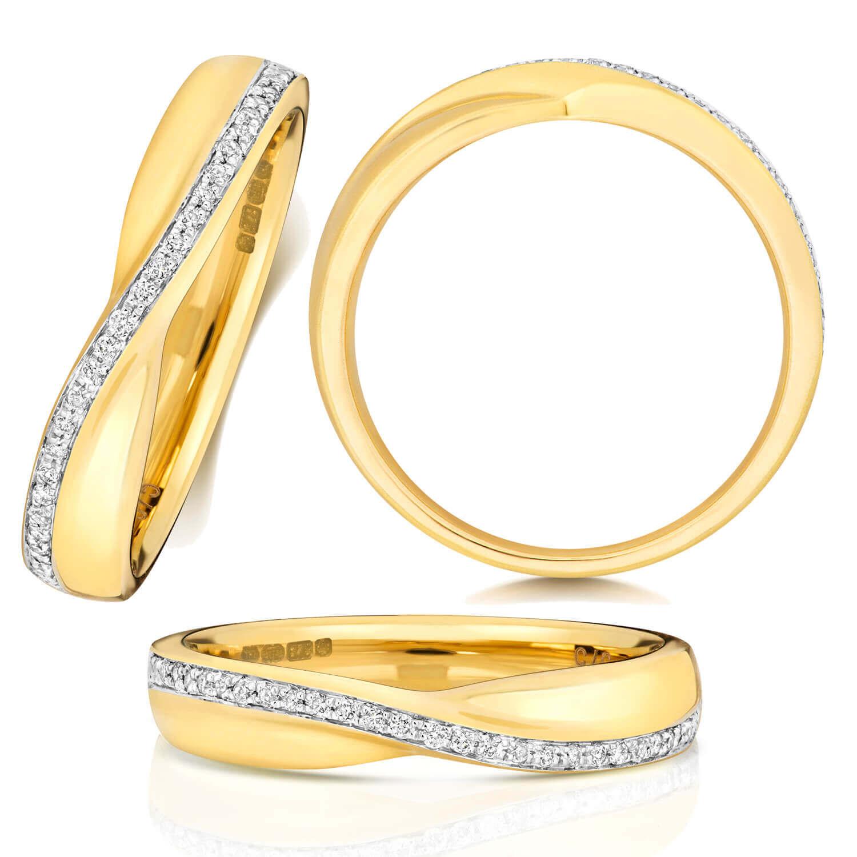 18ct Yellow Gold Diamond Crossover Wedding Ring