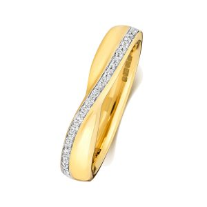 18ct Yellow Gold Diamond Crossover Wedding Ring