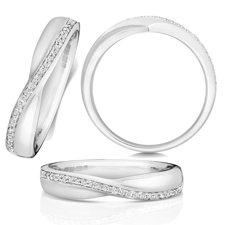 18ct White Gold Diamond Crossover Wedding Ring