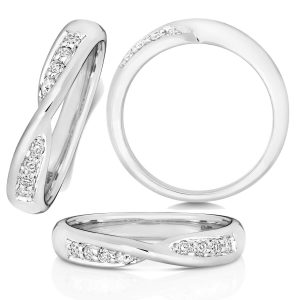 18ct White Gold Diamond Crossover Wedding Ring